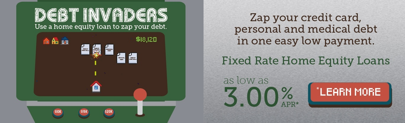 Zap your credit card, personal, and medical debt in one easy payment with a fixed-rate home equity loan. Rates as low as 3.00% APR. Click to learn more.