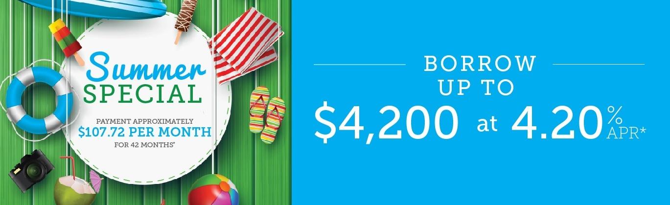 Borrow up to $4,200 at 4.20% APR.