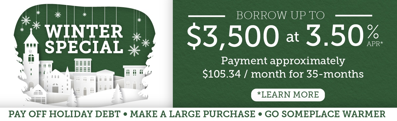 Winter personal loan special. Borrow up to $3,500 for 3.50% APR for 35 months.